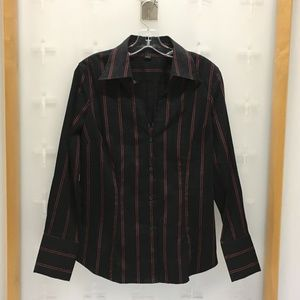 Express Women's Ls Button Front Top Black And Red